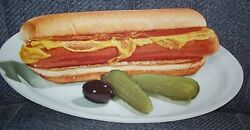 1930 Woolworth Card Stock Advertising Die Cut Hot Dog Mustard And Pickles-olive