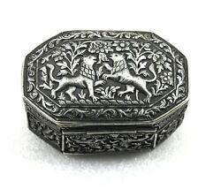 Antique Sterling Silver Box Engraved Handcrafted Unique Indian Decorative Gifts