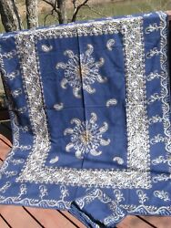 Authentic 1980s Syrian Silver/gold Embroidered Tablecloth 60 X 79 W/8 Napkins