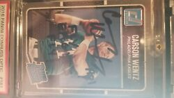 Carson Wentz Autographed Dunruss Optic Rookie Card With Ins Fly Eagle Fly