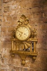 Antique Carved Gilt Wood Swedish Louis 16 Style Wall Clock