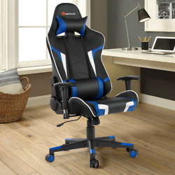 Gamers Reclining Swivel Massage Gaming Chair W/ Lumbar And Neck Support Multicolor