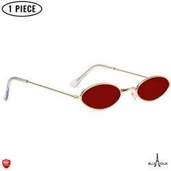 Small Oval Sunglasses Retro Vintage For Party Fashion 80s Disco Glasses Red