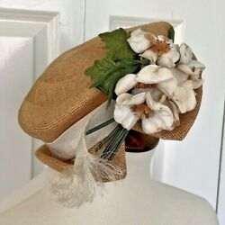 Vintage Straw Boater Hat W/ Ivory Silk Flower And Ribbon Decoration 22