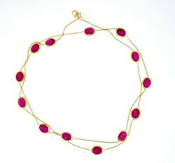 Necklace Ruby Station 14k Yellow Gold Chain 15.0 Ctw Oval Rubies 26.25 Long
