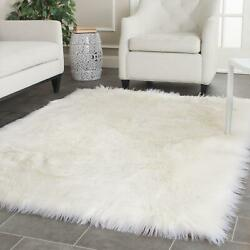 Faux Sheep Skin Pink Round Rug Ivory Medium Rectangle 6and039 X 9and039