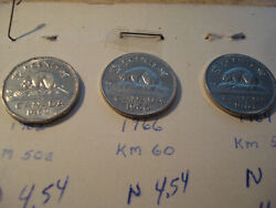 3 Coin Set 1962 1966 1964 Canada 5 Cent Queen Elizabeth Ii 1st And 2nd Portrait