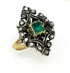 Ring Diamond And Emerald Vintage Rose Cut Cocktail 1.25 Ctw 18k Gold Size 7.25