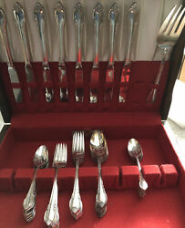 1847 Rogers Bros Is Remembrance Silverware 8 Settings Wood Box Chest