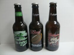 Lot Of 3 Large Budweiser Glass Promo Beer Bottles Football New Years St. Patrick