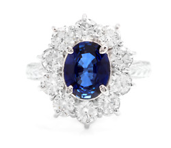 4.30ct Natural Blue Sapphire And Diamond 14k Solid White Gold Ring