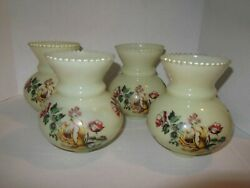 4 VINTAGE CREAM GLASS LAMP LIGHT SHADES YELLOW ROSES Scalloped