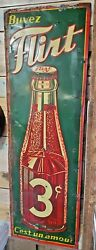 Rare Vintage Embossed Tin Sign Soda Flirt 3 Cents 30and039s 54 X 18 St-thomas Sign