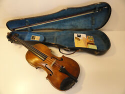 Antique Christian Boelandt Violin With Mandw Bulls Head Case And Bow And Accessories