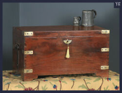 Antique Anglo-indian Victorian Colonial Teak And Brass Campaign Chest Trunk Box