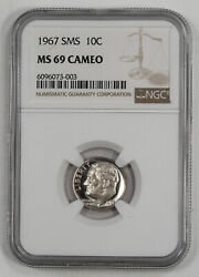 1967 Sms Roosevelt Dime 10c Ngc Certified Ms 69 Mint State Unc - Cameo 003