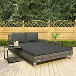 2-person Garden Sun Bed Wicker Rattan Sun Lounger Deck Daybed W Cushions Outdoor
