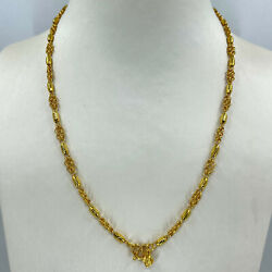 New 24k Solid Yellow Gold Barrel Link Necklace Chain 18 17.6 Grams 999
