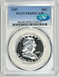 1957 Proof Franklin Half Dollar Pcgs Pr68dcam With Cac Certification