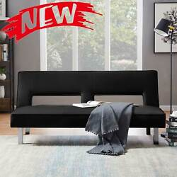 New Futon Sofa Bed Sleeper Convertible Couch Modern Pu Leather Loveseat Daybed