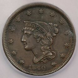 1840-p 1840 Braided Hair Large Cent Icg Ms60 Details N-3 Small Date