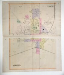 Antique 1891 29 X 34 1/2 Map Of Elkhorn Walworth County Wi 2 Sections Euc
