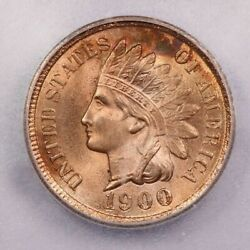 1900-p 1900 Indian Head Cent Icg Ms64 Rd