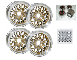 Trans Am 17x9 Inch Gold Snowflake Wheel Kit W/lug Nuts And Red Bird Center Caps