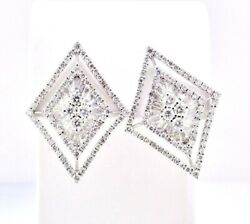 Earrings Diamond Round And Baguette Diamond Shaped Open Halo 18k Gold 2.50 Ctw