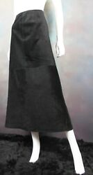 Marsh Landing Womenand039s Long Skirt Size 12 Black 100 Leather Suede Lined