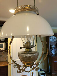 Antique Hanging Converted Kerosene Lamp W/ Brass Frame, White Shade And Glass Font