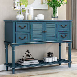 Console Table For Entryway Sofa With 4 Storage Drawers Cabinet And Open Shelf