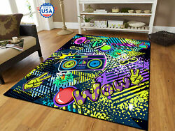 Cool Game Over 90s Music Style Area Rug Decor Floor Carpet, Teen's Room Gift