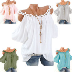 Women Off The Shoulder Blouse Lace Sleeveless Round Neck Solid Loose T shirt Top $13.11