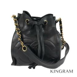 Drawstring Pouch Coco Mark Black X Gold Hardware Cross Body From Japan