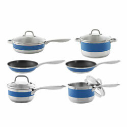 Chantal 10 Piece Stripes Stainless Steel With Blue Cove Band Cookware Set