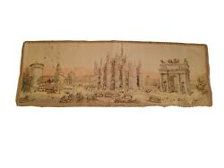Vintage TAPESTRY Wall Hanging RUNNER Arc of Peace amp; Milan Cathedral Milano Italy