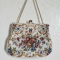 Vintage Walborg Hand Tapestry and Beaded Clutch Purse coin made in Hongkong