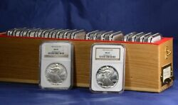 1986-2005 American Silver Eagles 20-coin Set Each Graded Ngc Ms69 W/ Wooden Box