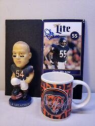 Very Rare Nfl Chicago Bears Signed Cup, Poster W A Bobblehead Memorabilia