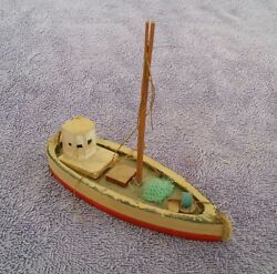 Antique Toy Boat Wood Wooden Penco Red Ship Vintage 5.5 In Model Sail Child