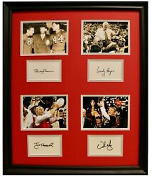 Woody Hayes Paul Brown Tressel Urban Signed 20x24 Frame Ohio State Champions Psa