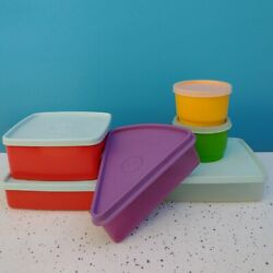 Vtg Lot Of Tupperware Sandwich Container Lid Cake Cup Orange Red Set 70s Dishes