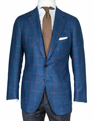 Cesare Attolini Jacket Blue With Brown Check, Patch Pockets - Wool/silk