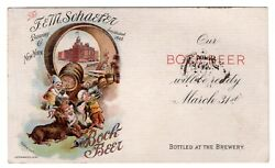 Schaefer Brewing Ny Multi-color Bock Beer Advertising 1898 On Ux14