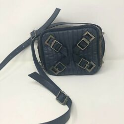 Anthropologie Schuler And Sons Square Quilted Blue Leather Crossbody Bag Purse