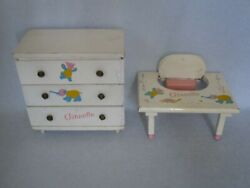 Vogue Ginnette Doll Wood Dresser Chest Of Drawers, Feeding Table, Doll Furniture