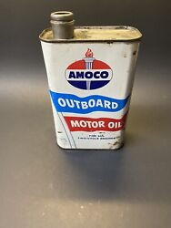 Vintage Rare 1960s Amoco Outboard Motor Oil 1 Qt Advertising Tin Can