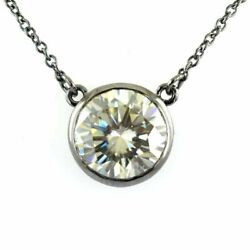 Sterling Hand Made Off White Diamond Solitaire Pendant Bezel Set Necklace 3 Cts