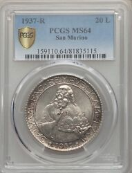 San Marino 1937-r 20 Lire Silver Coin, Choice Uncirculated, Pcgs Certified Ms64